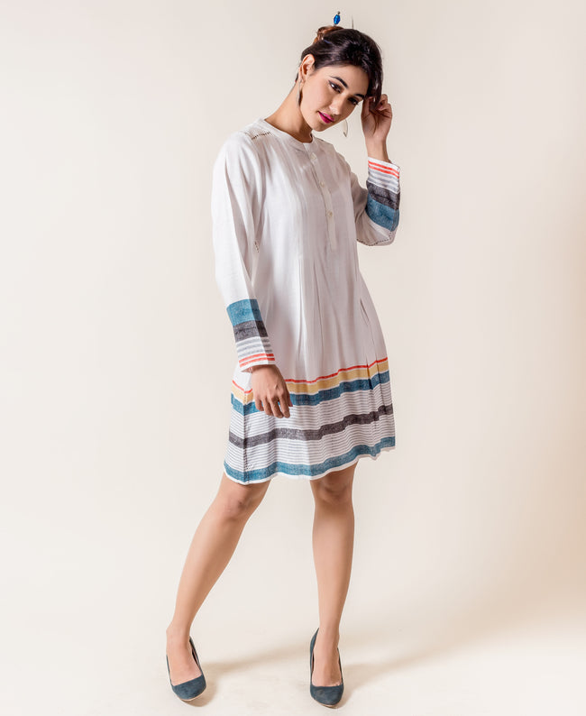 Full Sleeved Rayon Multi Colored Knee Length Dress