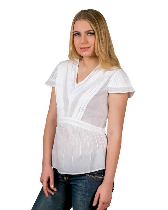 White Pleated Cotton Tunic Top