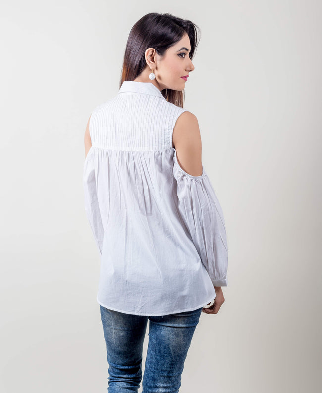 Collared Cotton Pleated Top In White