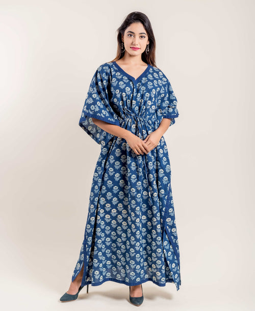 Floral Hand Block Printed Flared Long Cotton Nightwear