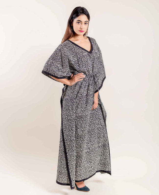 Cotton Hand Block Printed Flared Kaftan In Black And White