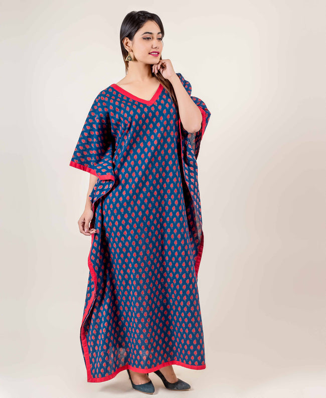 Blue/Red Full-Length Cotton Hand Block Printed Kaftan