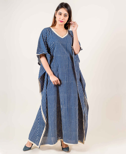 Striped Kaftan Cotton Nightwear In Blue And Off-White