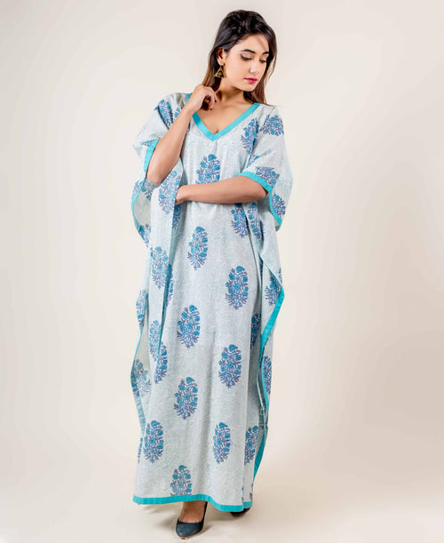 Hand Block Printed Cotton Flared Kaftan In White/Light Blue
