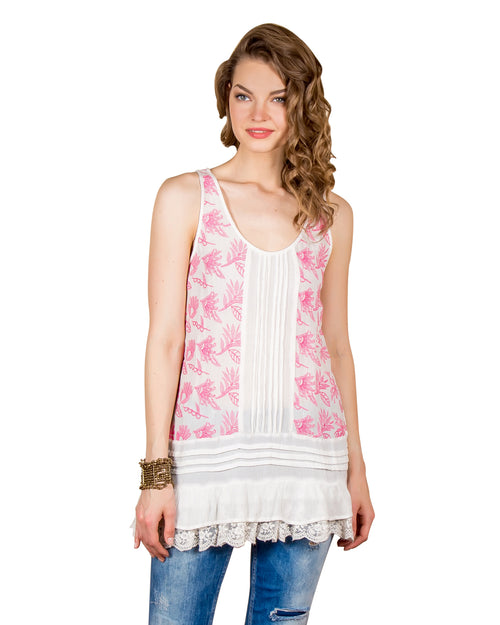 Pink Embroidered Tiered Tunic Top