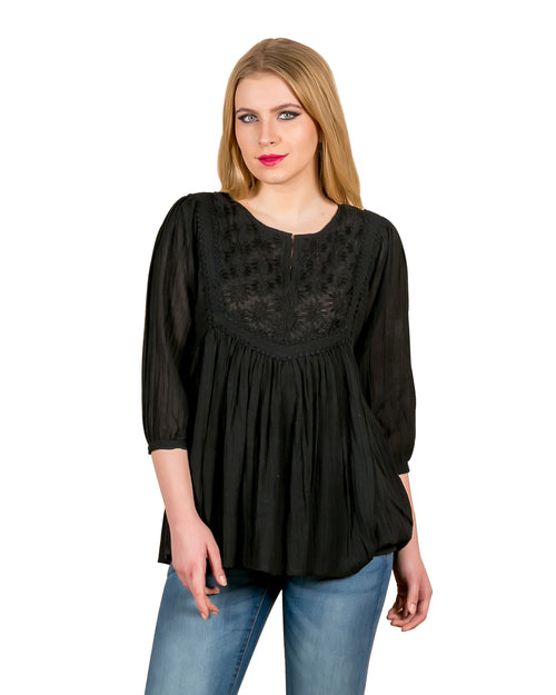 Noir Empire Cut Rayon Blouse