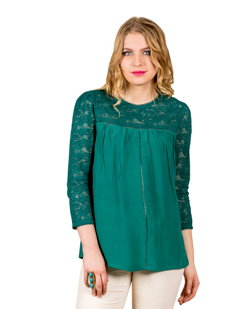 Emerald Lacy Tunic Top