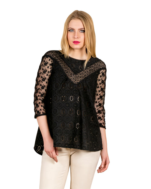Black Embroidered Laced Tunic Top