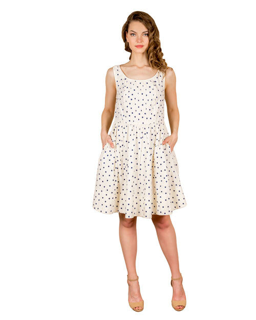 Cotton Polka Dot Tea-Length Dress