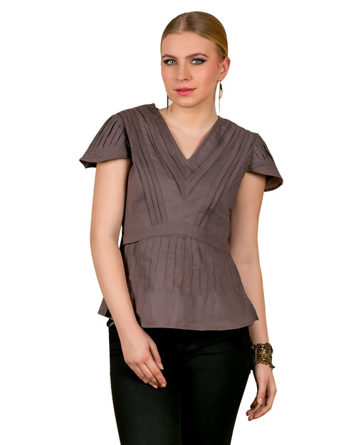 Rosewood Pleated Cotton Tunic Top
