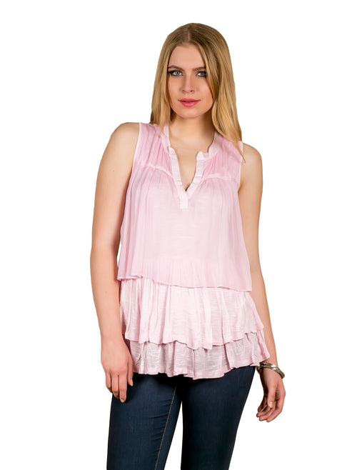 Pink Pleated Tiered Summer Tunic Top