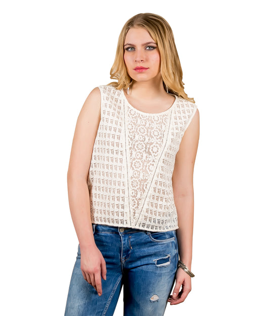 Embroidered Nylon Sleeveless Top