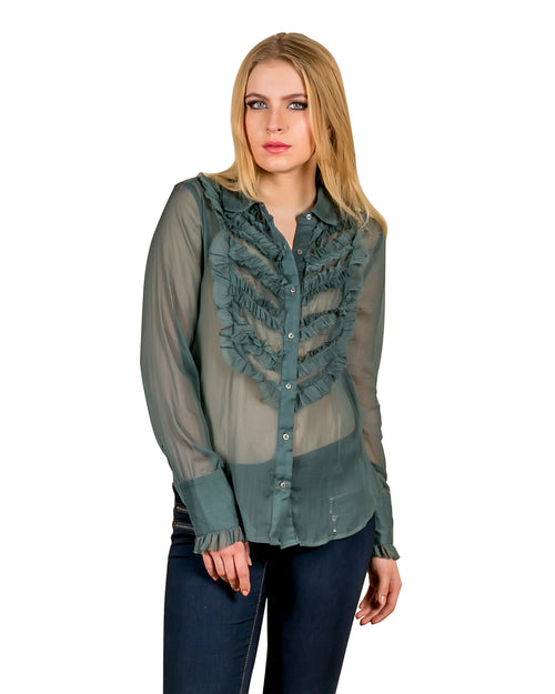 Olive Frilled Nylon Button Down Shirt