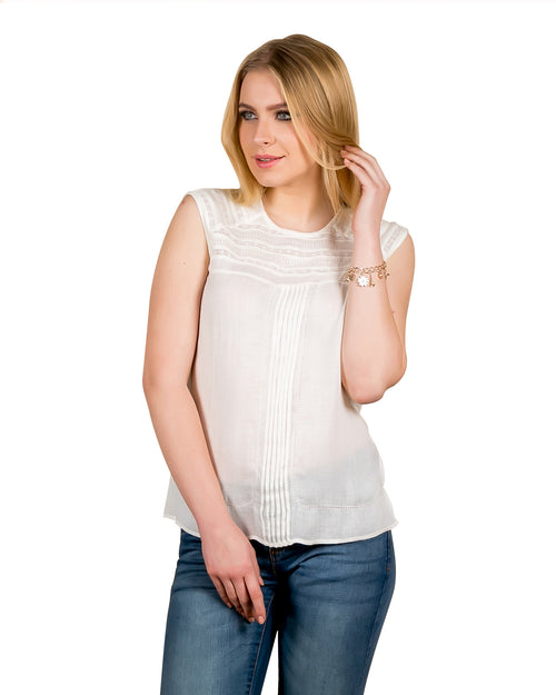 Pleated White Sleeveless Tunic Top