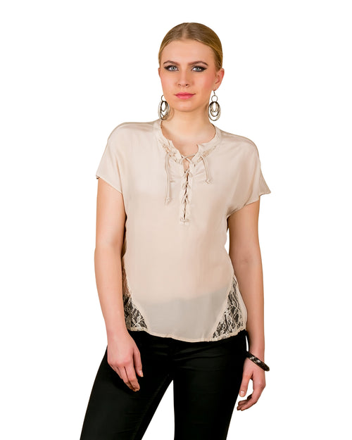 Beige Georgette Blouse With Stylish Neck