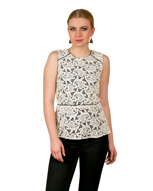Monochrome Embroidered Cotton Top
