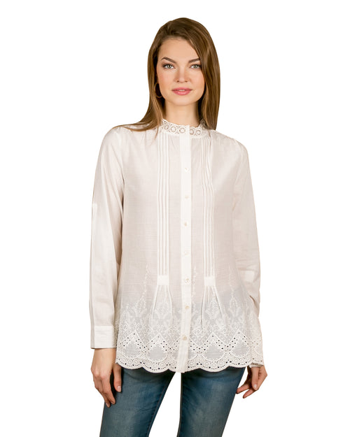 Cotton Full Sleeved Embroidered White Top