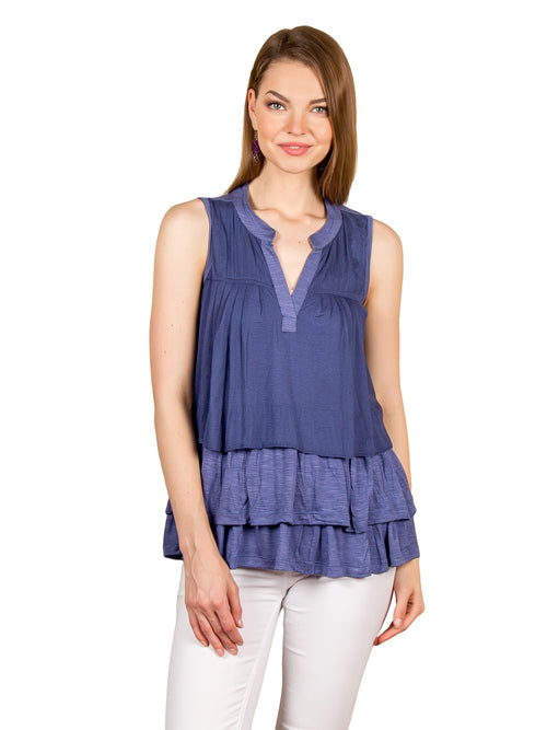 Pleated Tiered Summer Tunic Top