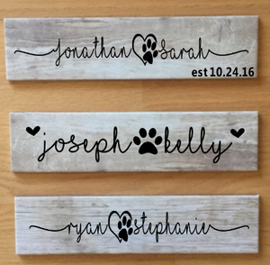 Personalized Plaque With Paw Print