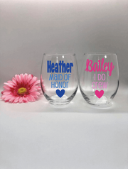 Personalized Bachelorette Stemless Wine Glasses