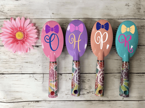 Personalized Initial Hair Brushes With Bow