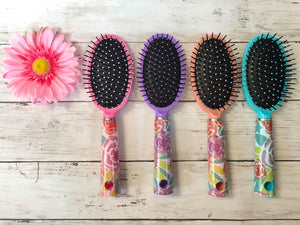 Personalized Hair Brushes With Background Initial