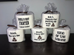 Father's Day TP Rolls (Blue Ribbon With Black Emojis)