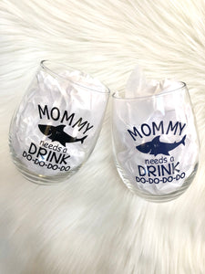 Mommy Shark Stemless Wine Glass