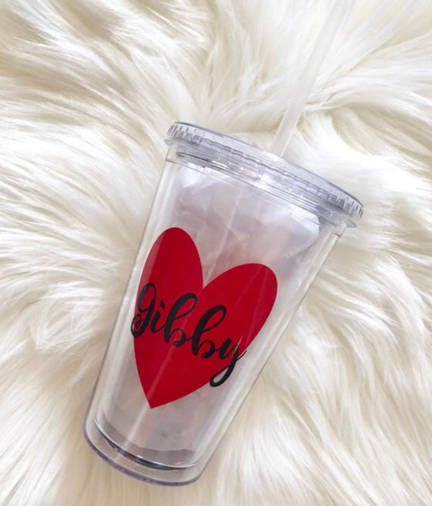 Personalized Heart Tumblers | Many Different Colors & Font Styles To Choose From!