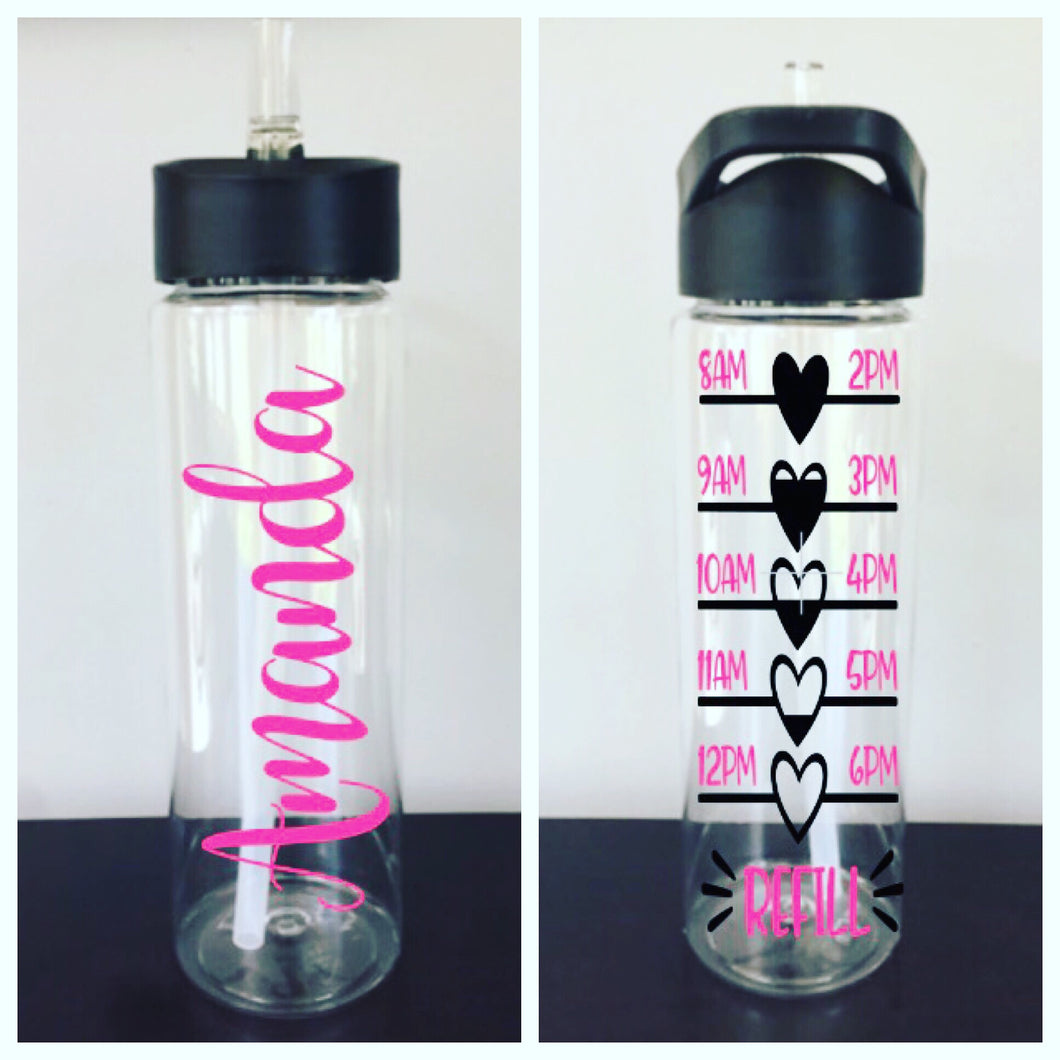 Personalized Water Bottle Tracker (24 oz) | 20 Different Font Styles To Choose From!