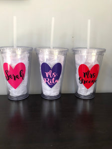 Personalized Tumblers For Valentine's Day | Many Different Colors To Choose From!