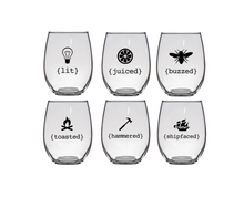 Lit, Buzzed, Toasted, Hammered, Juiced, Shipfaced Stemless Wine Glasses