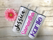 Personalized Stainless Steel Skinny Tumblers | 28 Font Styles To Choose From!
