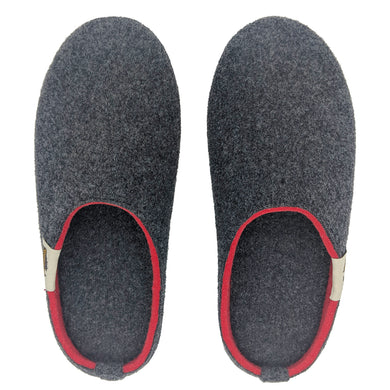 Outback Slipper Charcoal & Red