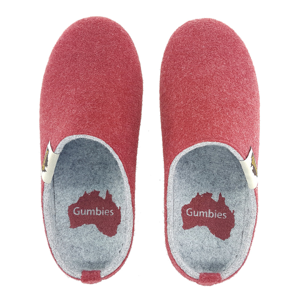 Outback Slipper Burgundy & Grey