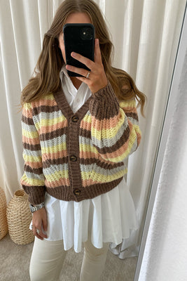 LYA-V.CA Strik Cardigan - Brown/Stripe