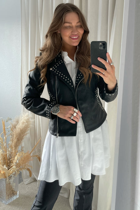 Alicia Studded Biker - Sort