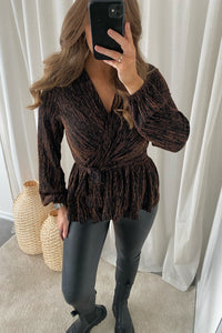 Furious L/S Glimmer Wrap Top - Burnt Henn