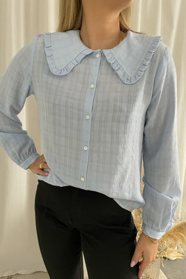 Fine L/S Collar Shirt - Blue
