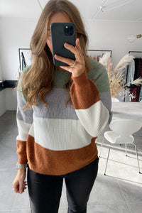 Sandy L/S Stribet Pullover - Hedge Grøn