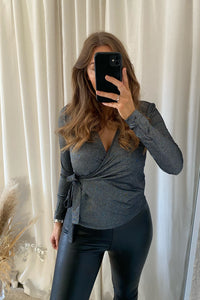 Shine L/S Wrap top - Sølv Lurex