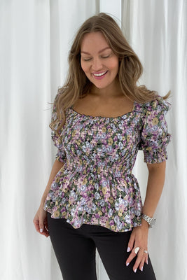 Marie Top - Lilla Mix Print