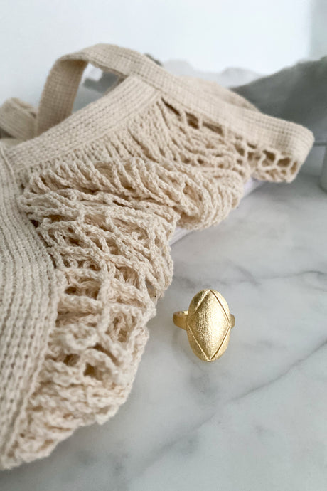 Oval Plade Ring - Guld