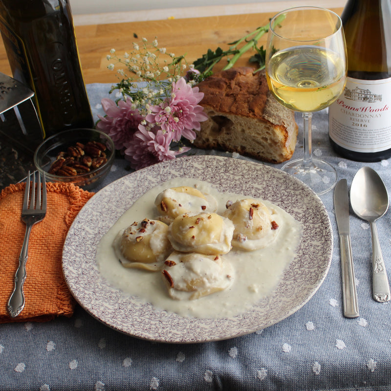 Butternut Squash Ravioli with Shallot Cream Sauce
