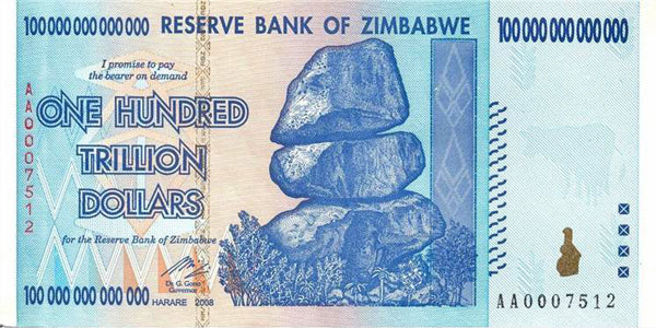 100 Trillion Zimbabwe Notes