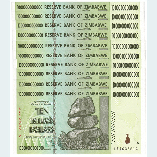 10 Trillion Zimbabwe Dollar Bills 10 Pack