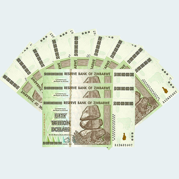 50 Trillion Zimbabwe Dollar Bills - 100 Pack