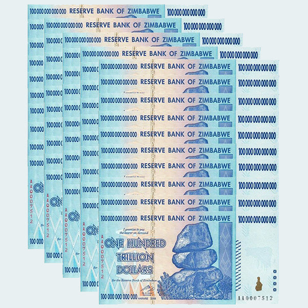 Half Bundle Special - 50 pack of 100 Trillion Zimbabwe Notes