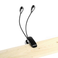2 Dual Flexible Arms 4 Led Clip-On Light Lamp For Piano Music Stand Book Accesorio