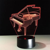 3D Effect Grand Piano Lamp Decoración